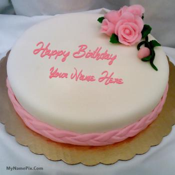 Pink Rose Happy Birthday Cake With Name