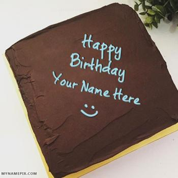 Square Chocolate Bday Cake With Name