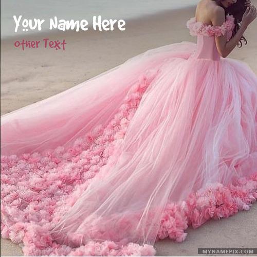 Amazing Pink Dress Girl Image With Name