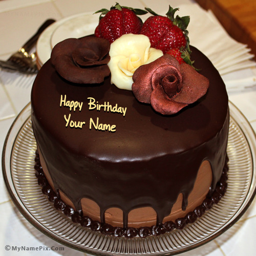 Chocolate Birthday Cake With Rose With Name