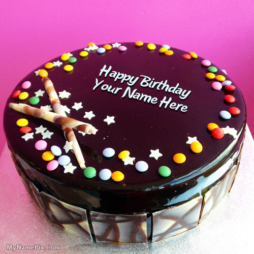 Images Of Chocolate Cake With Name : Chocolate Bunties Birthday Cake With Name