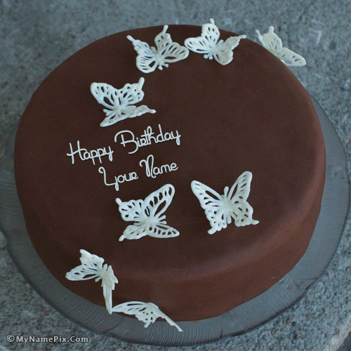 Chocolate Butterflies Birthday Cake With Name