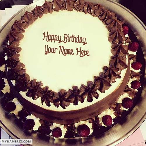 Images Of Birthday Cake With Name Rajesh : Chocolate Ice Cream Birthday Cake With Name