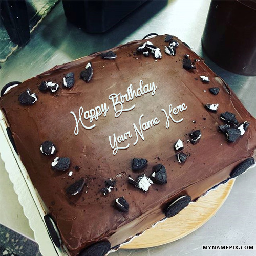 Chocolate Cake Pic With Name : Chocolate Orio Birthday Cake With Name