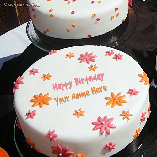 Flowers Birthday Cake With Name