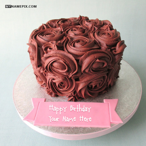 Birthday Images With Flowers And Cake With Names : Flowers Chocolate Birthday Cake With Name
