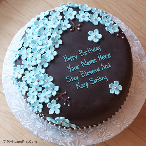 Chocolate Cake Pic With Name : Flowers Chocolate Birthday Cake With Name