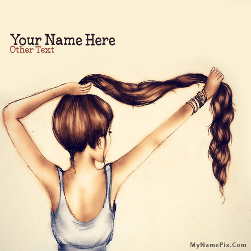 Girl Hair Drawing Image With Name