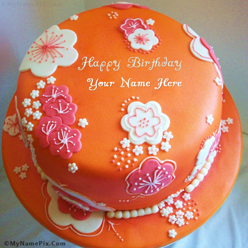 Name Pix Birthday Cake Beautiful : Beautiful Orange Birthday Cake With Name