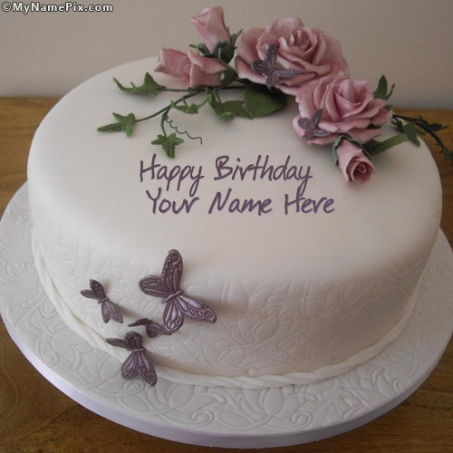 Birthday Images With Flowers And Cake With Names : Birthday Flower Cake With Name