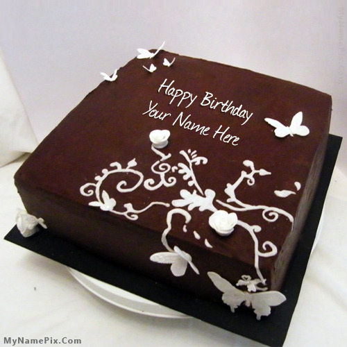 Chocolate Cake Pic With Name : Butteryfly Chocolate Birthday Cake With Name