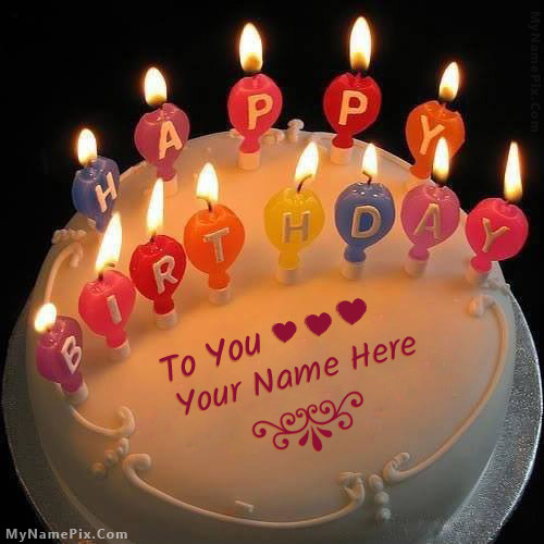 Birthday Cake Photo Download With Name : Candles Happy Birthday Cake With Name