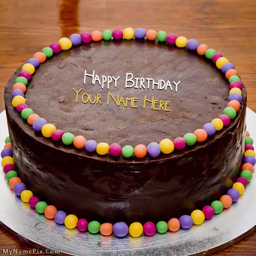 Chocolate Balls Bithday Cake With Name