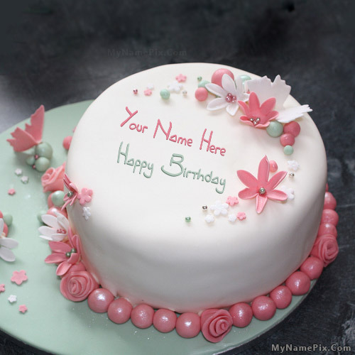 Cake Images With Name Vishnu : Flowers Elegant Cake With Name