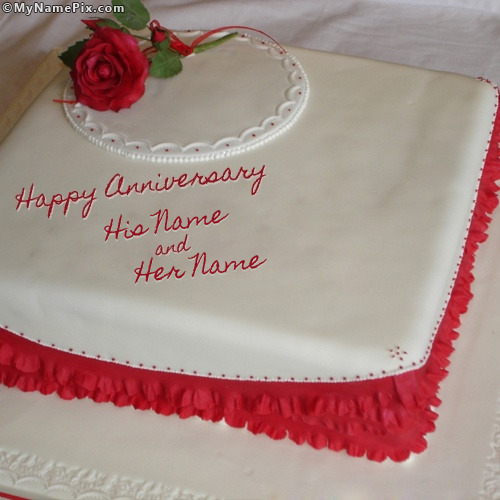Anniversary Cake Photos With Name : Happy Anniversary Cake With Name