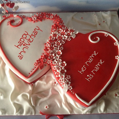 Happy Anniversary Hearts Cake With Name