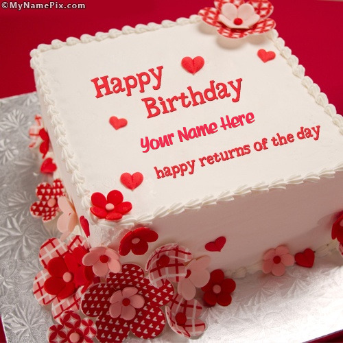 Anniversary Cake Images With Name Editor : Happy Returns Birthday Cake With Name