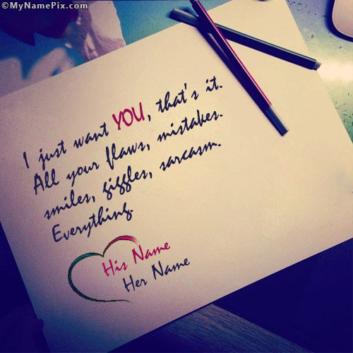 I Just Want You Love Note Image With Name