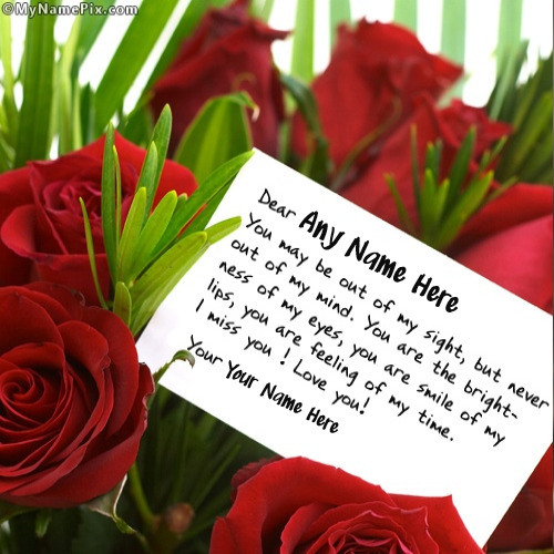 Love Note on Roses Image With Name