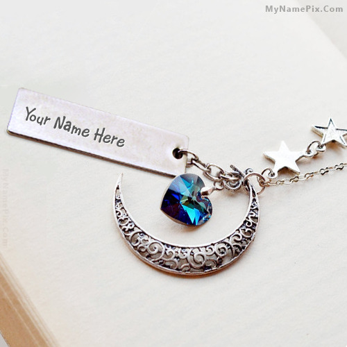 Personalized Moon Heart Necklace With Name