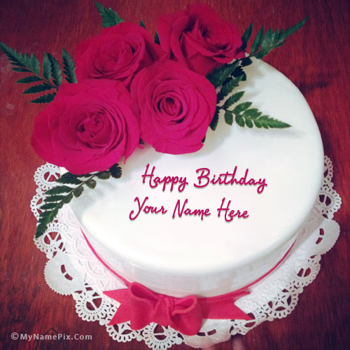 Cake With Name Birthday : Lovely Roses Birthday Cake With Name