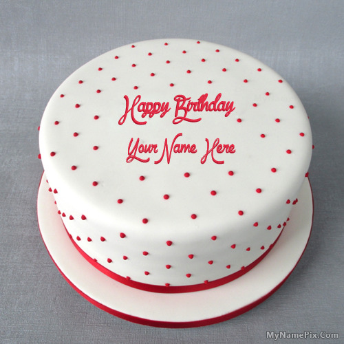 Cake Images With Name Vinod : Polka Birthday Cake With Name