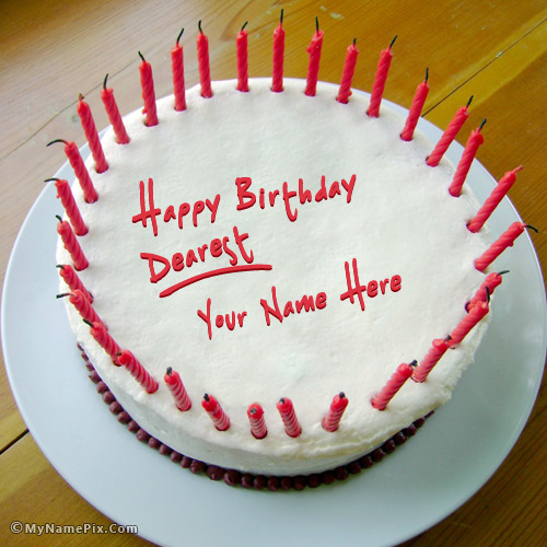 Images Of Birthday Cakes With Names And Candles : Red Candles Birthday Cake With Name