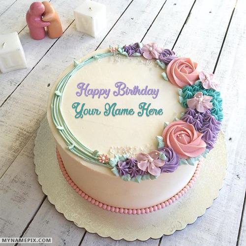 Romantic Birthday Cake Images For Husband : Romantic Colorful Roses Birthday Cake With Name