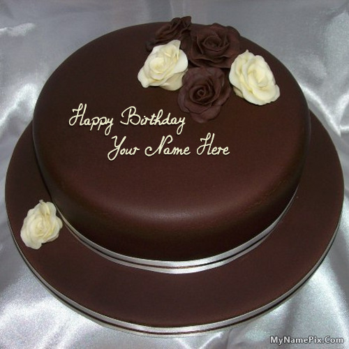 Chocolate Cake Pic With Name : Rose Chocolate Birthday Cake With Name