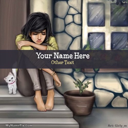 Sad Girl Drawing Image With Name