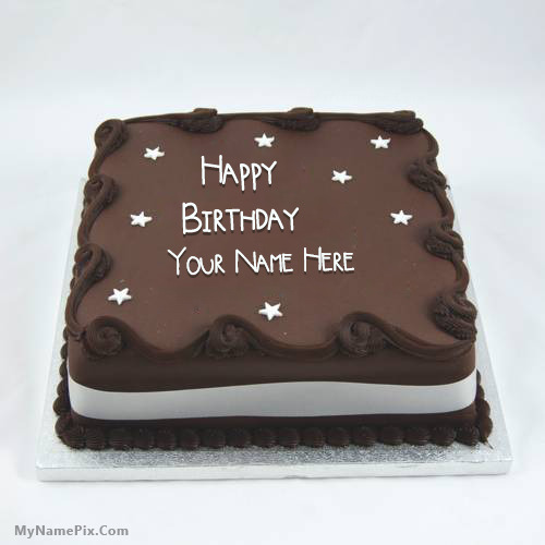 Birthday Cake Designs In Square : Square Chocolate Cake With Name