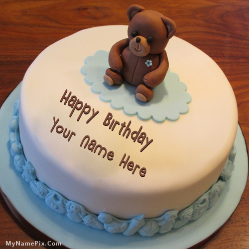 Birthday Cake For Him Images : Teddy Bear Birthday Cake With Name