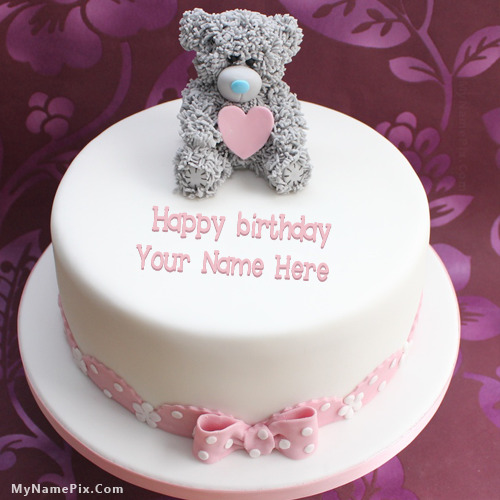 Cake Images With Name Akshay : Teddy Birthday Cake With Name