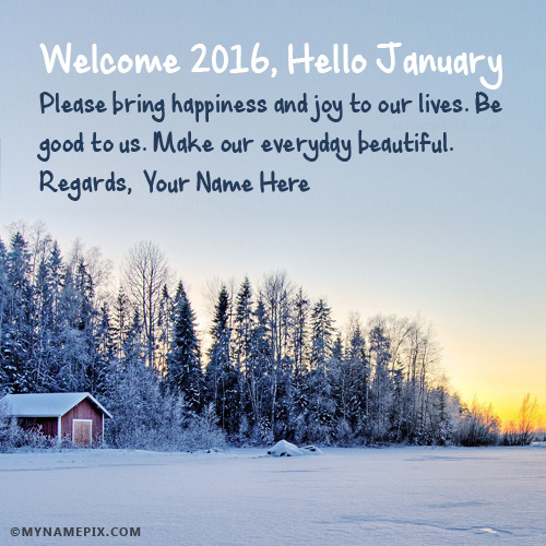 Welcome 2017 Hello January With Name