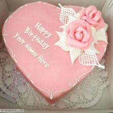 Amazing Pink Heart Birthday Cake For Lover With Name