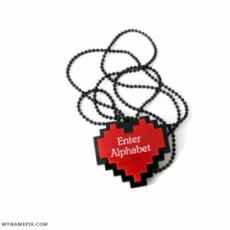 Awesome Red Heart Name Initial Necklace