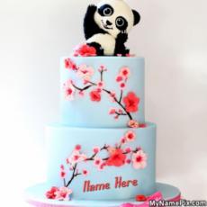 Beautiful Panda Flower Cake With Name