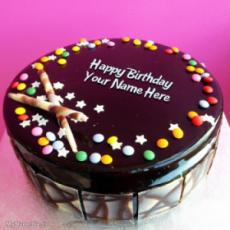 Chocolate Bunties Birthday Cake With Name