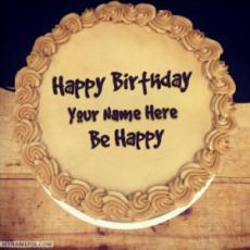 Elegant Chocolate Birthday Cake With Name