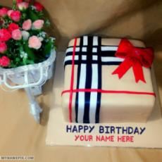 Elegant Ice Cream Birthday Cake For Friend With Name