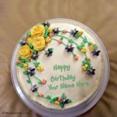 Floral Icecream Birthday Cake With Name