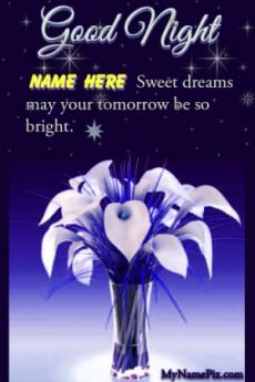 Good Night Sweet Dreams Blue Wish Card With Name
