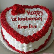 Happy 1st Anniversary Heart Cake With Name