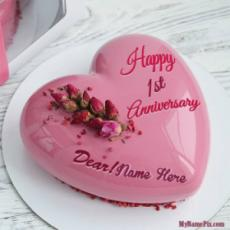 Happy 1st Anniversary Pink Mirror Cake With Name