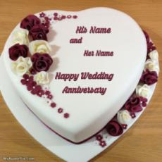 Heart Wedding Anniversary Cake With Name