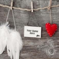 Love Tag Heart and Angel Wings