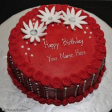 Red Elegant Birthday Cake