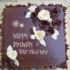 Roses Chocolate Birthday Cake With Name