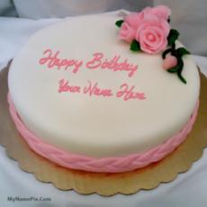 Pink Rose Happy Birthday Cake