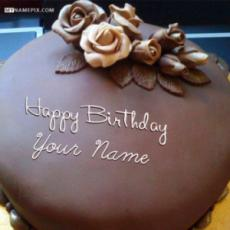 Roses Chocolate Birthday Cake With Name